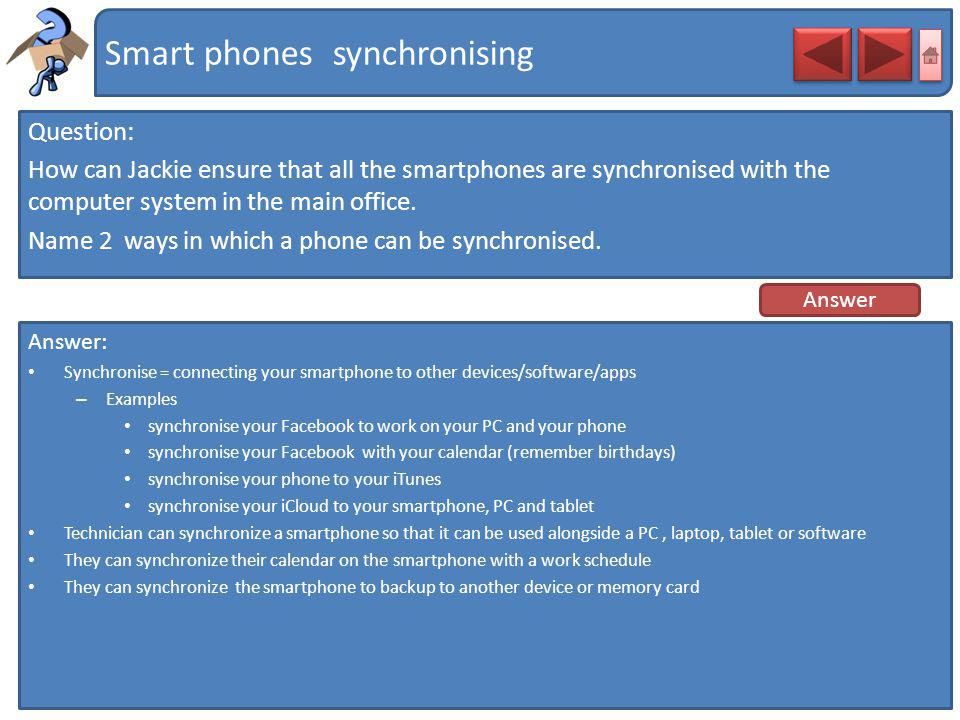 Smart phones synchronising