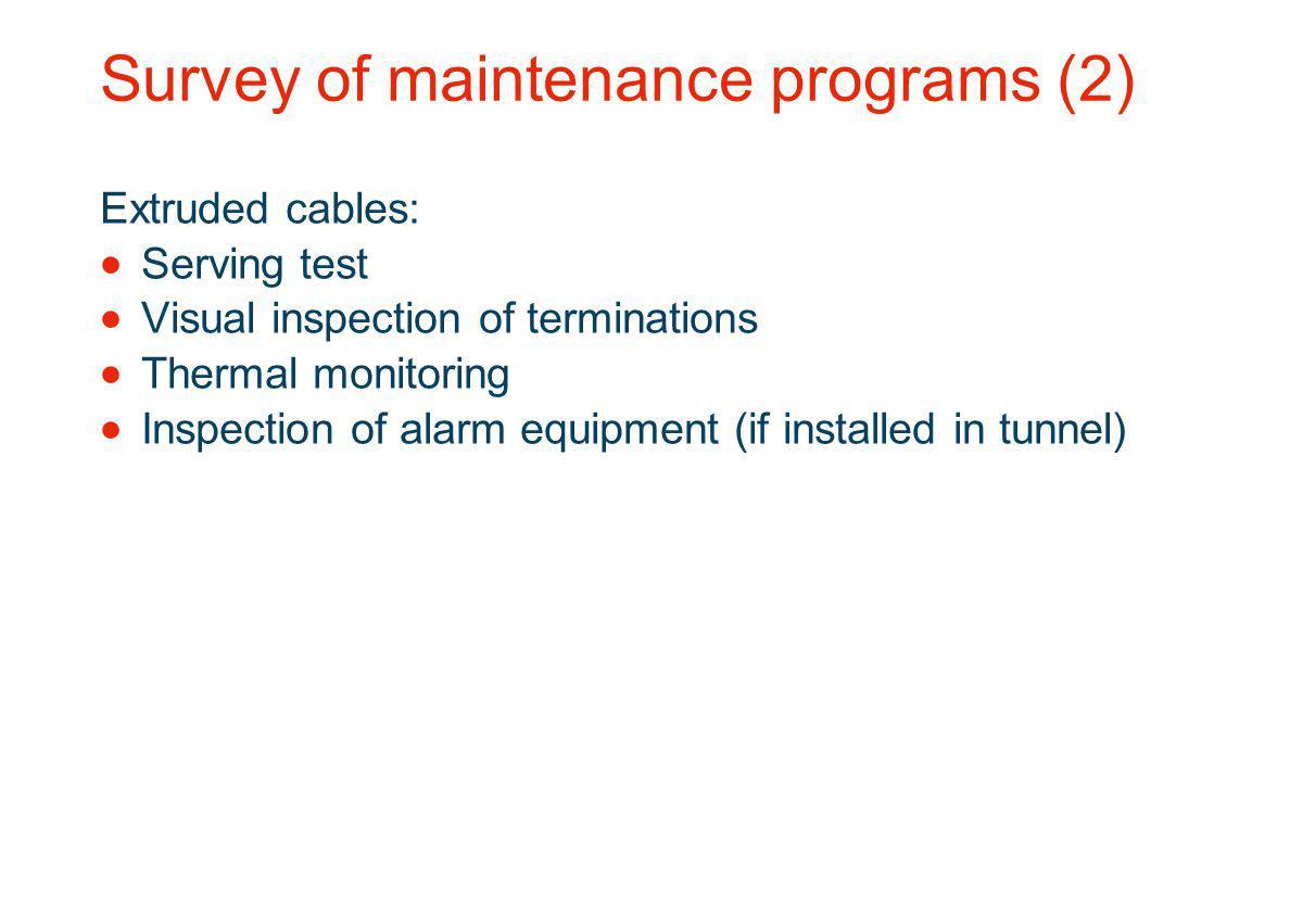 Survey of maintenance programs (2)