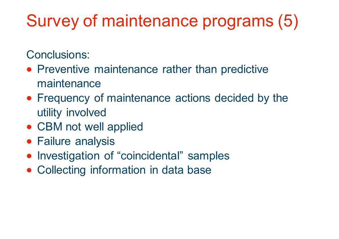 Survey of maintenance programs (5)