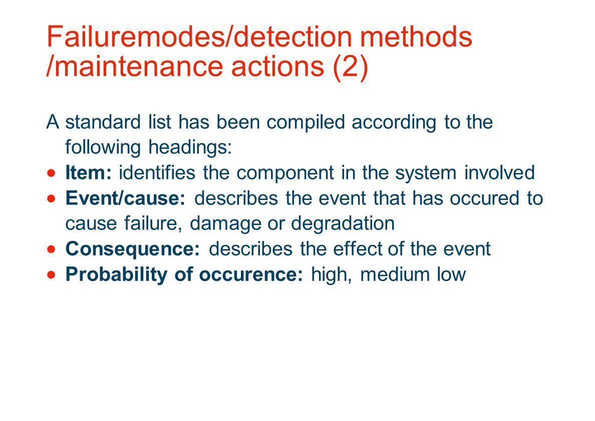 Failuremodes/detection methods /maintenance actions (2)