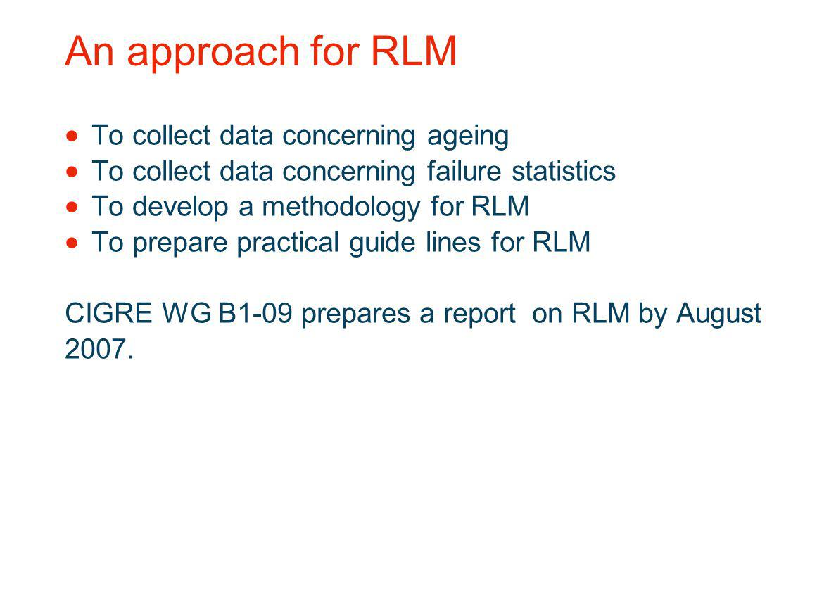 An approach for RLM To collect data concerning ageing
