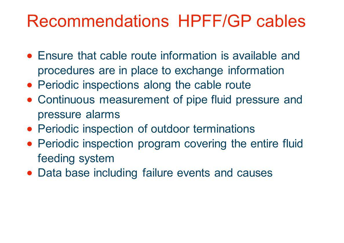 Recommendations HPFF/GP cables