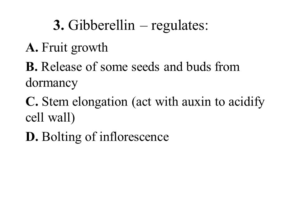 3. Gibberellin – regulates: