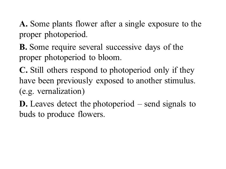 A. Some plants flower after a single exposure to the proper photoperiod.