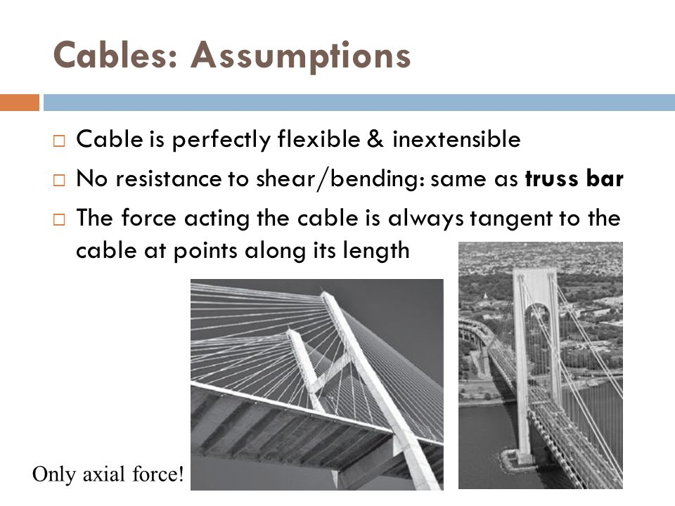 Cables: Assumptions Cable is perfectly flexible & inextensible