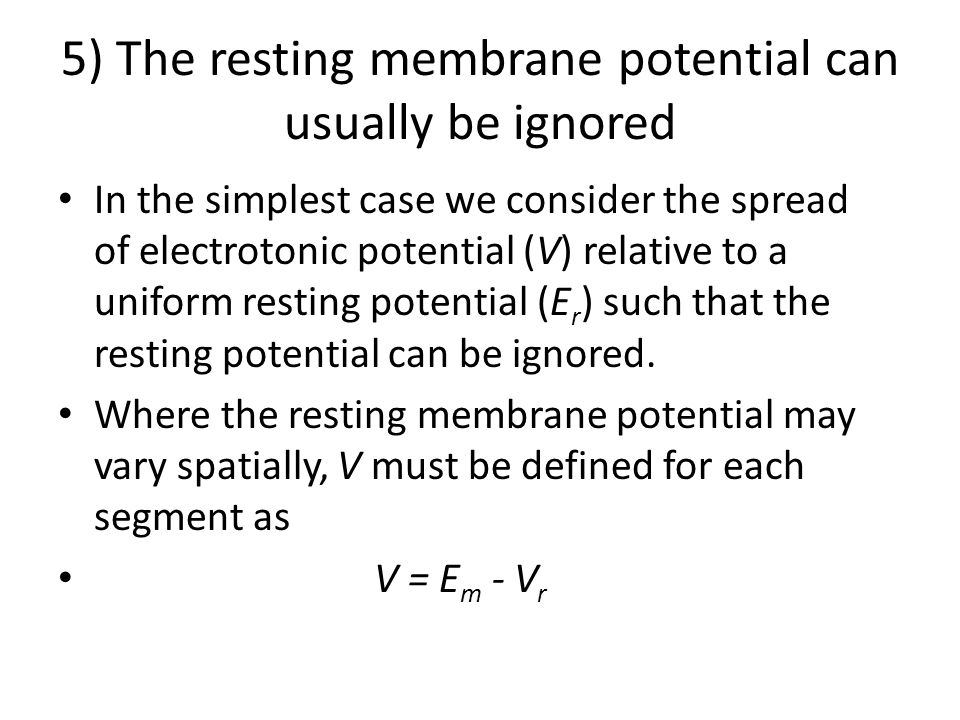 5) The resting membrane potential can usually be ignored