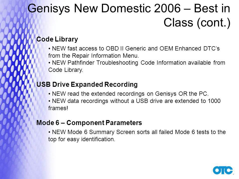 Genisys New Domestic 2006 – Best in Class (cont.)