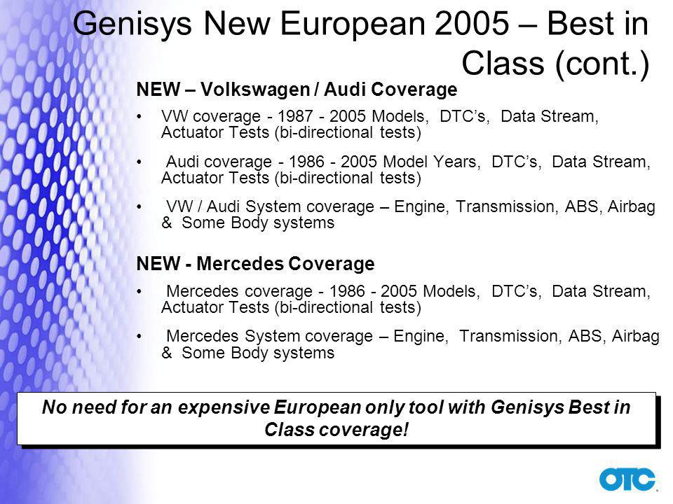 Genisys New European 2005 – Best in Class (cont.)