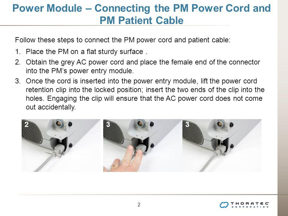 Power Module – Connecting the PM Power Cord and PM Patient Cable