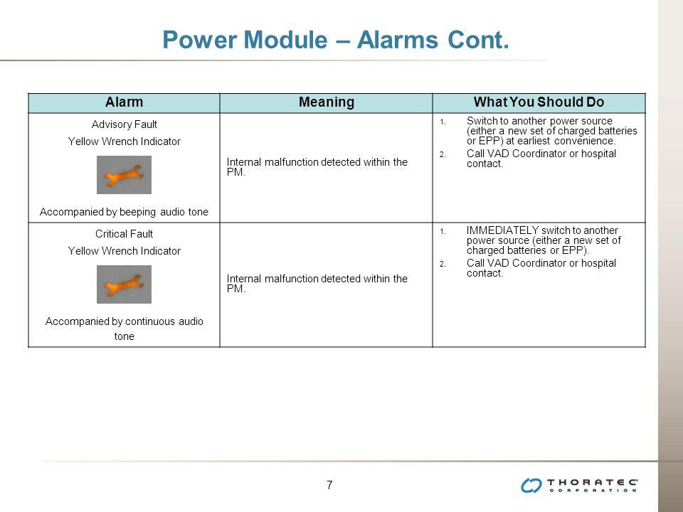 Power Module – Alarms Cont.