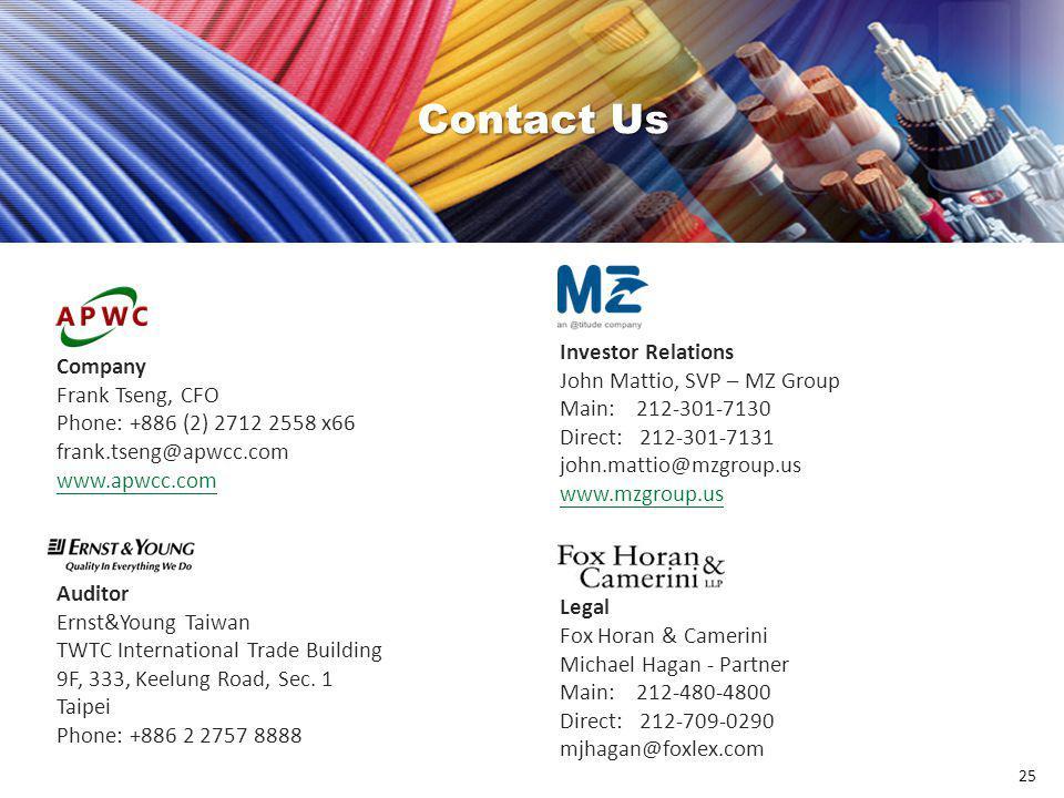 Contact Us Contact Us Company Frank Tseng, CFO
