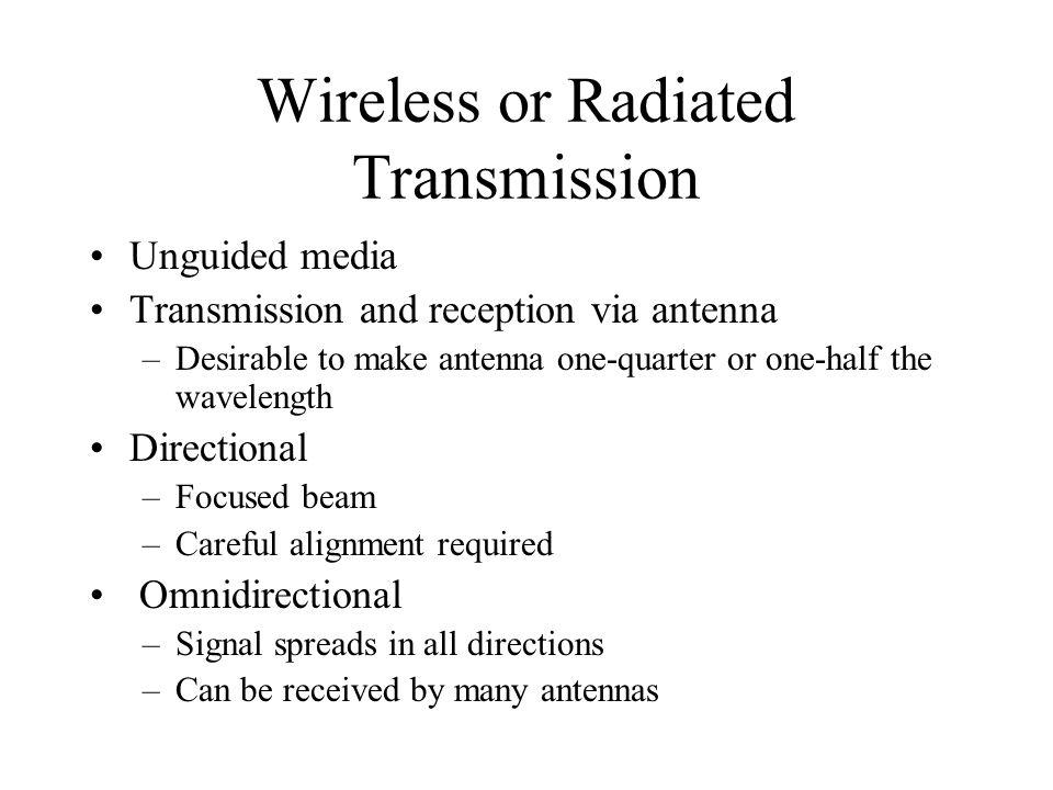 Wireless or Radiated Transmission