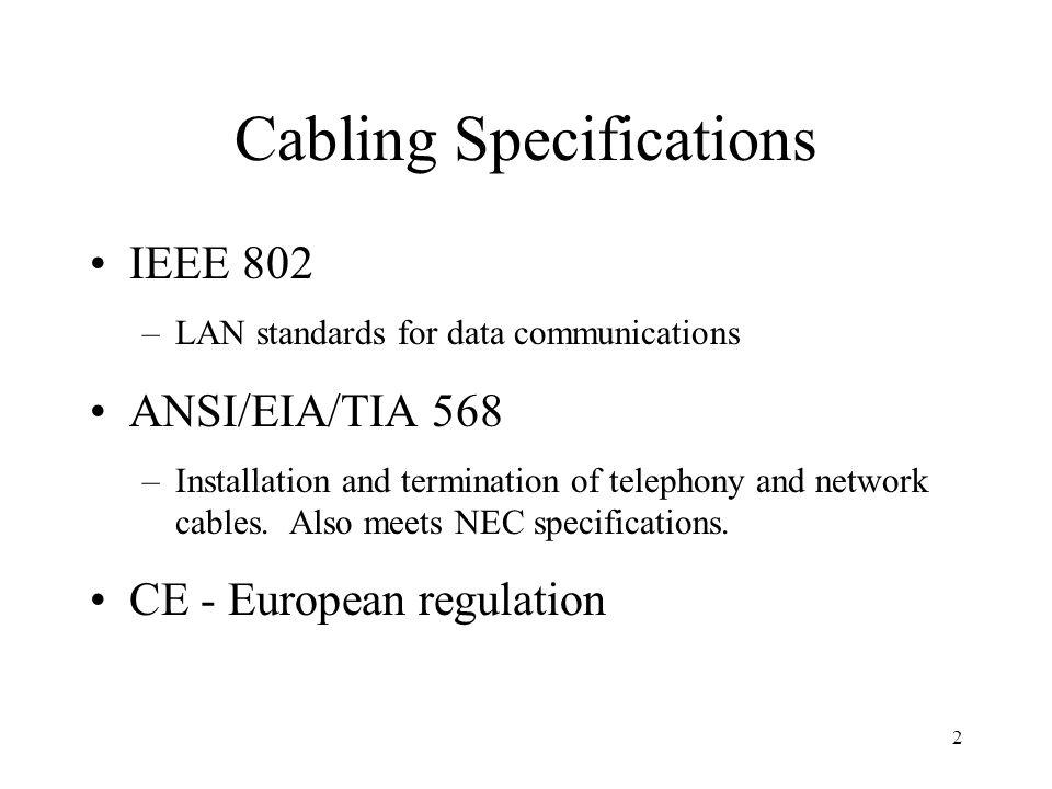 Cabling Specifications