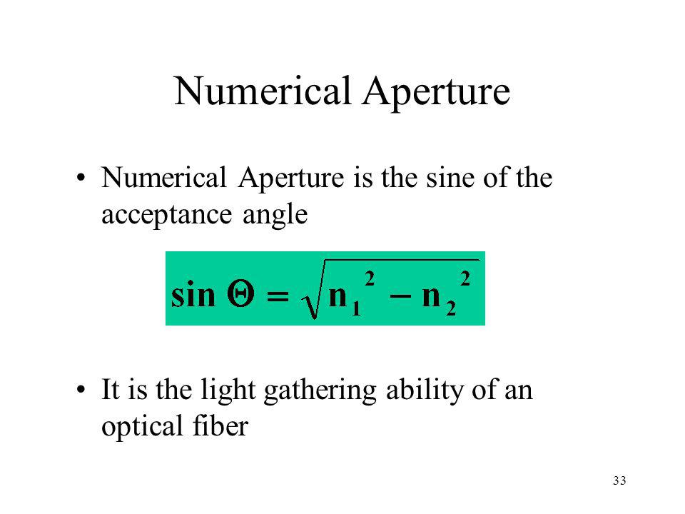 Numerical Aperture Numerical Aperture is the sine of the acceptance angle.