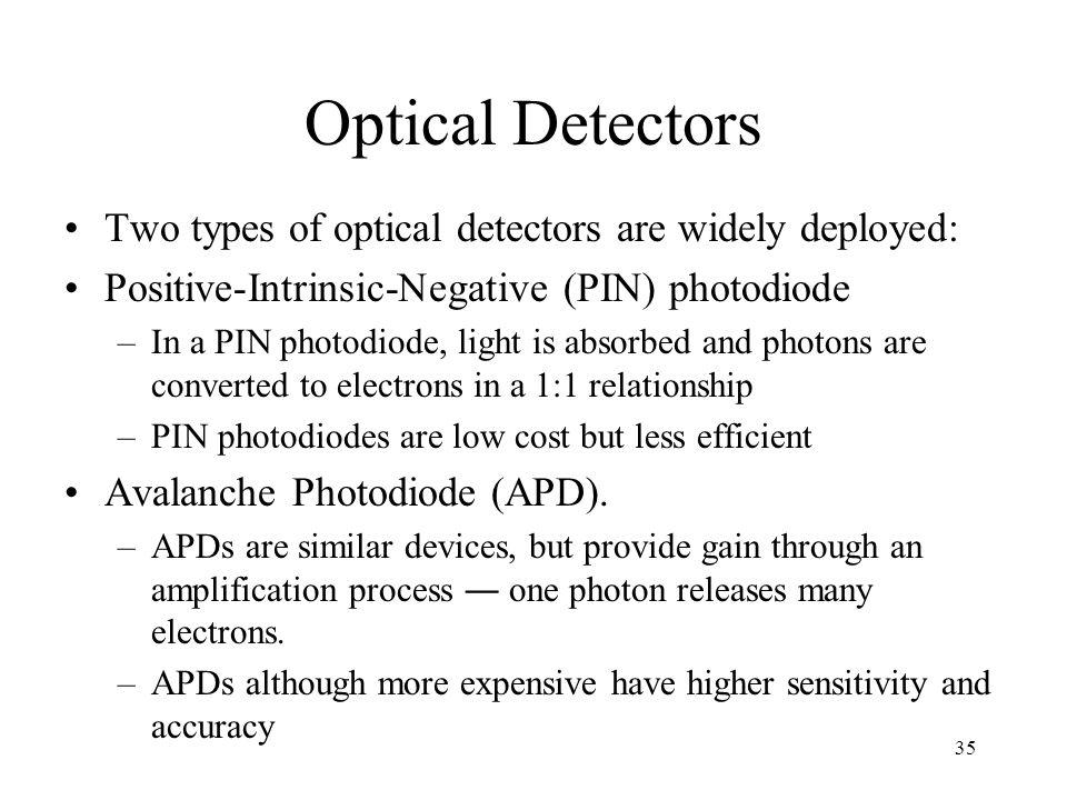 Optical Detectors Two types of optical detectors are widely deployed: