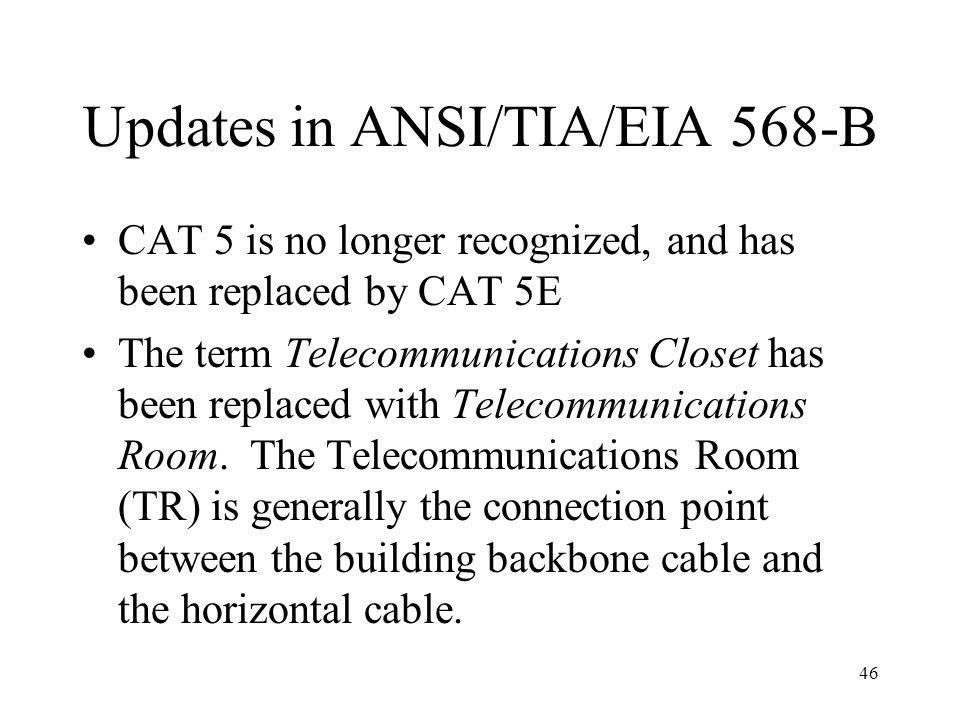 Updates in ANSI/TIA/EIA 568-B