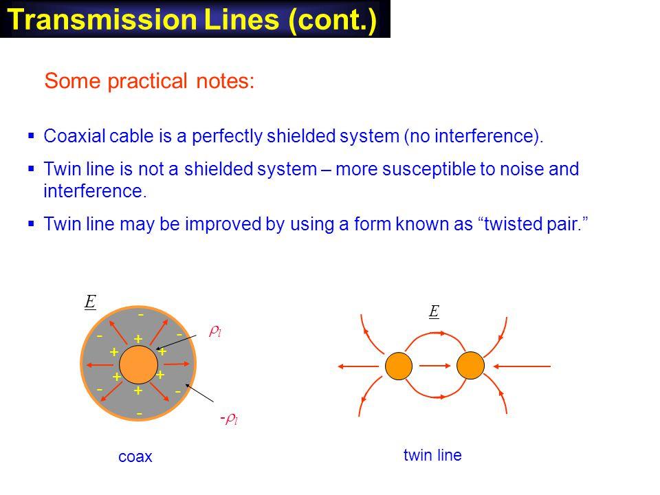 Transmission Lines (cont.)