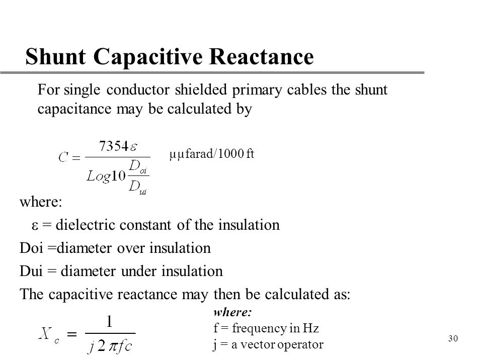 Shunt Capacitive Reactance