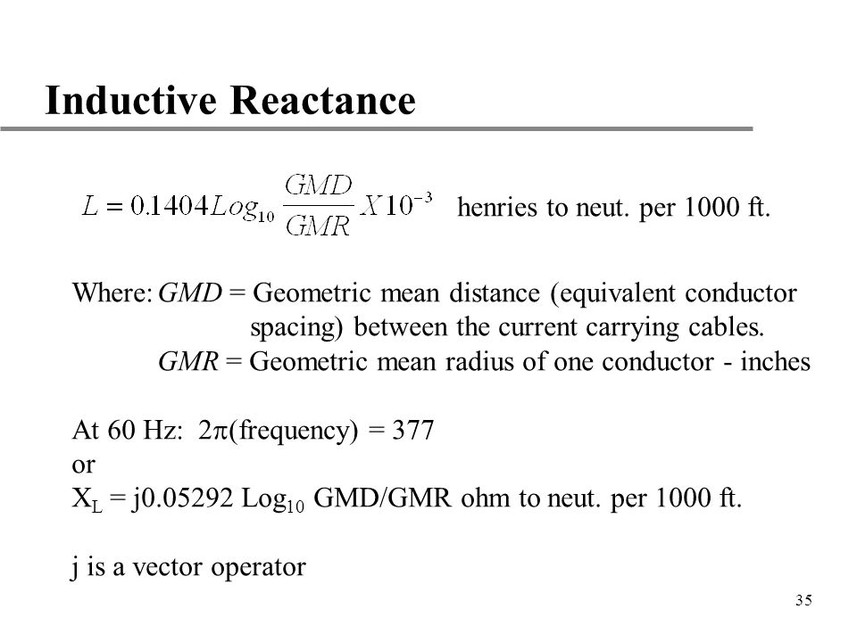 Inductive Reactance henries to neut. per 1000 ft.