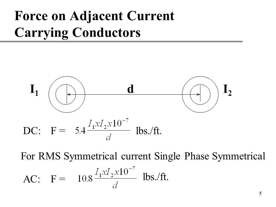 Force on Adjacent Current Carrying Conductors