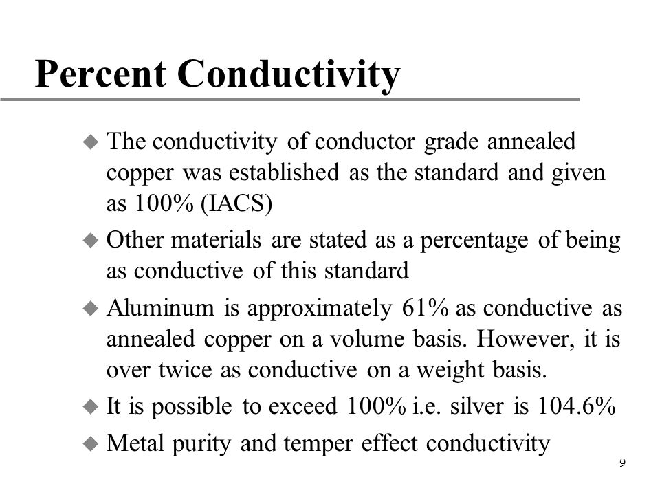 Percent Conductivity The conductivity of conductor grade annealed copper was established as the standard and given as 100% (IACS)