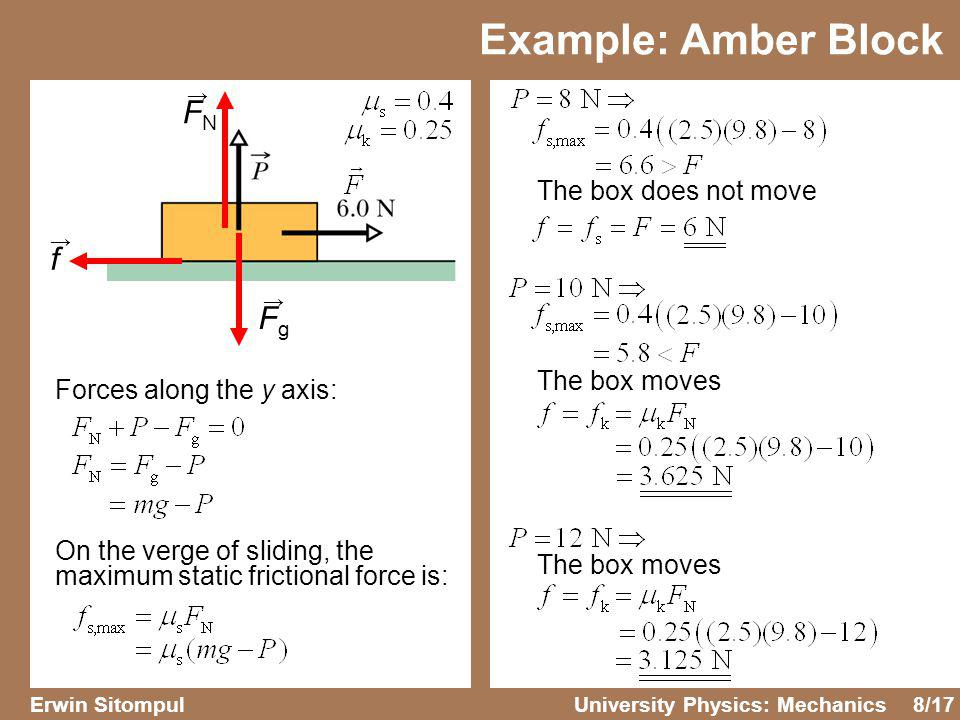 Example: Amber Block FN f Fg The box does not move The box moves
