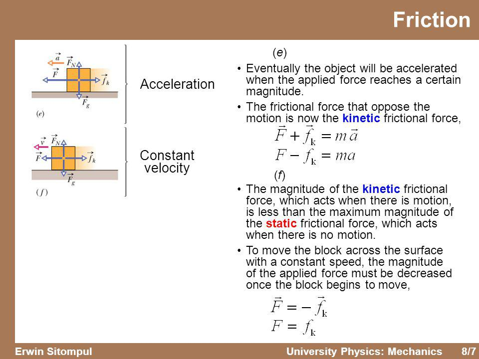 Friction Acceleration Constant velocity (e)