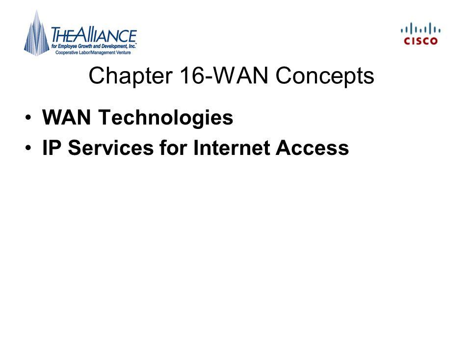 Chapter 16-WAN Concepts WAN Technologies