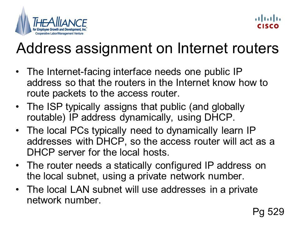 Address assignment on Internet routers