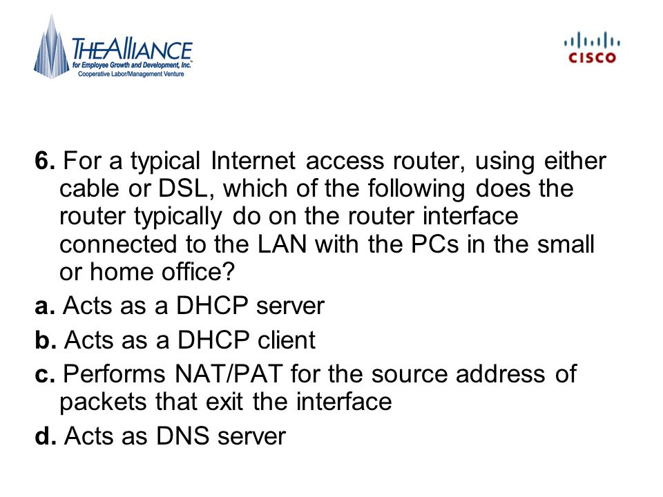 6. For a typical Internet access router, using either cable or DSL, which of the following does the router typically do on the router interface connected to the LAN with the PCs in the small or home office