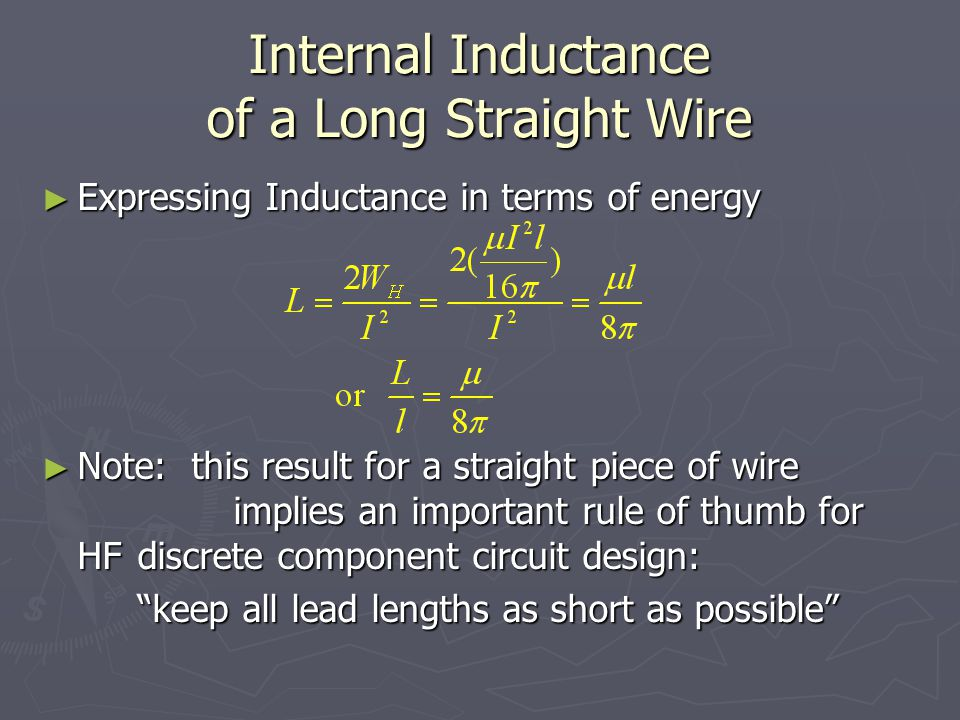 Internal Inductance of a Long Straight Wire