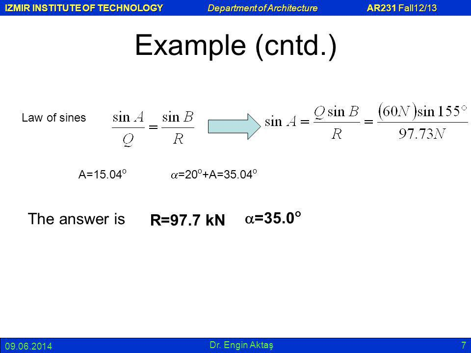 Example (cntd.) The answer is a=35.0o R=97.7 kN Law of sines A=15.04o