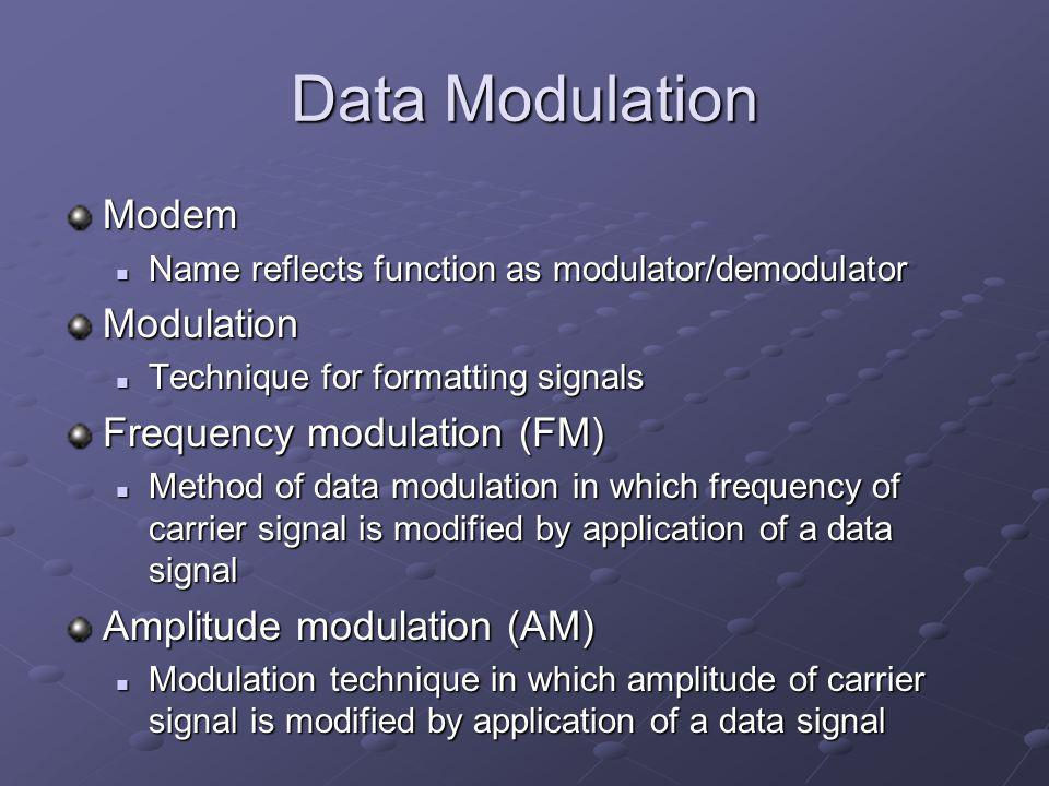 Data Modulation Modem Modulation Frequency modulation (FM)