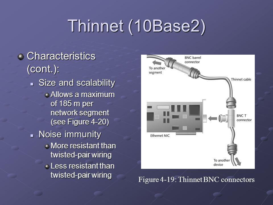Thinnet (10Base2) Characteristics (cont.): Size and scalability