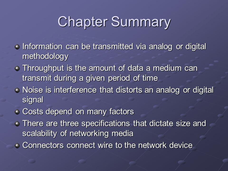 Chapter Summary Information can be transmitted via analog or digital methodology.