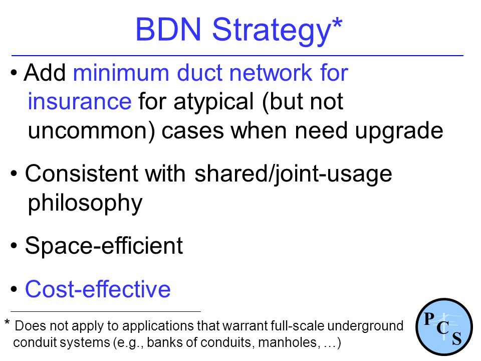 BDN Strategy* Add minimum duct network for insurance for atypical (but not uncommon) cases when need upgrade.