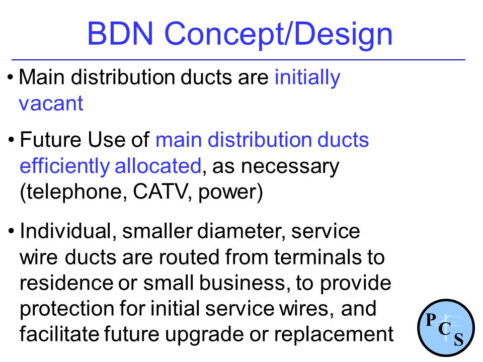 BDN Concept/Design Main distribution ducts are initially vacant