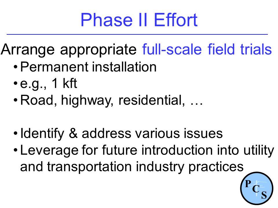 Phase II Effort Arrange appropriate full-scale field trials