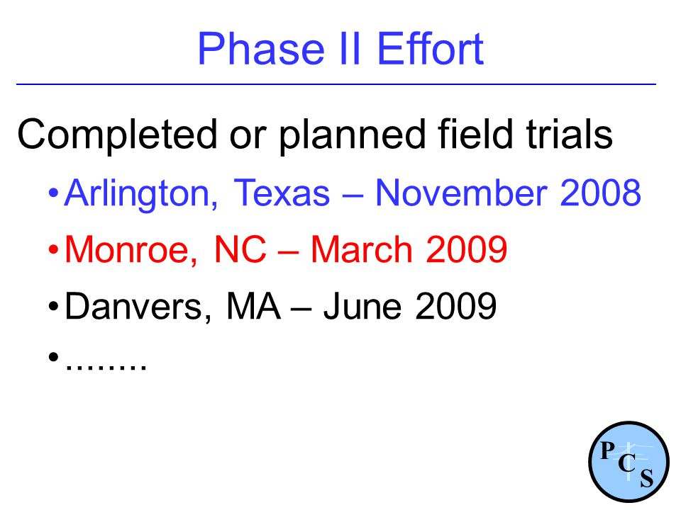 Phase II Effort Completed or planned field trials