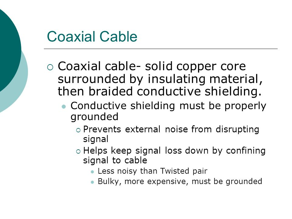 Coaxial Cable Coaxial cable- solid copper core surrounded by insulating material, then braided conductive shielding.