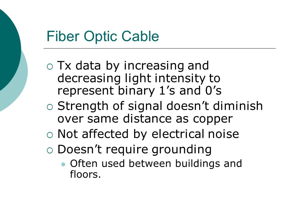 Fiber Optic Cable Tx data by increasing and decreasing light intensity to represent binary 1's and 0's.