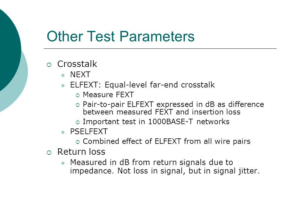 Other Test Parameters Crosstalk Return loss NEXT