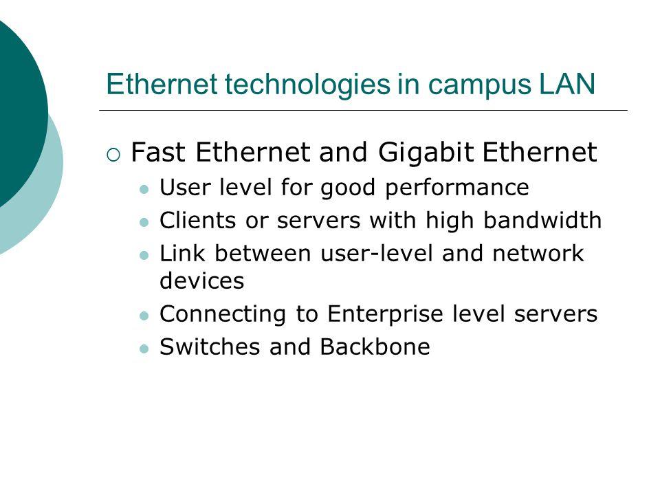 Ethernet technologies in campus LAN