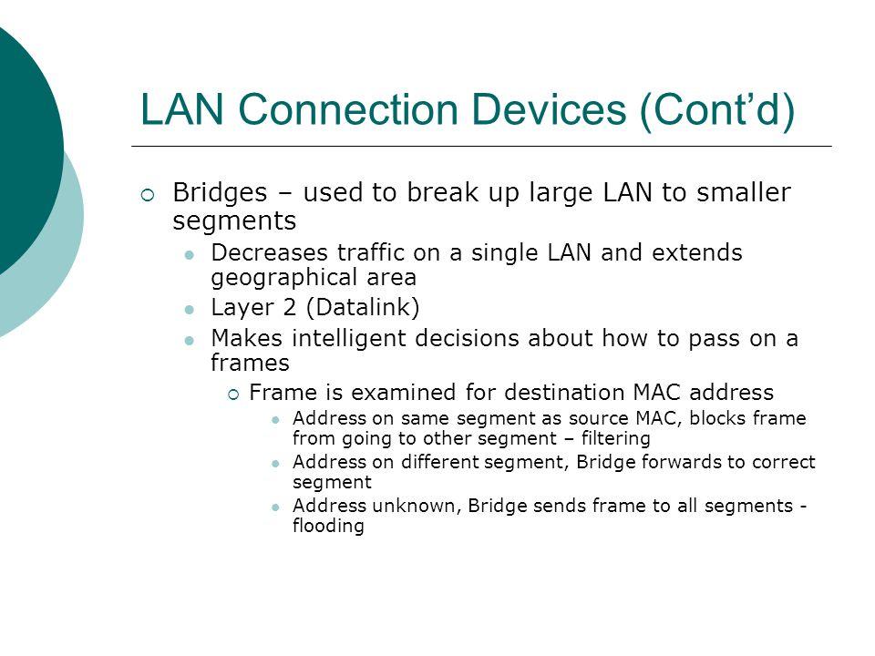 LAN Connection Devices (Cont'd)