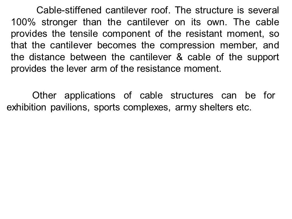 Cable-stiffened cantilever roof