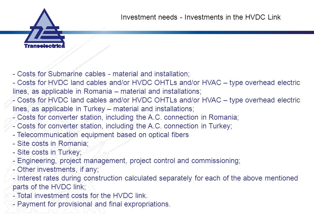 Investment needs - Investments in the HVDC Link