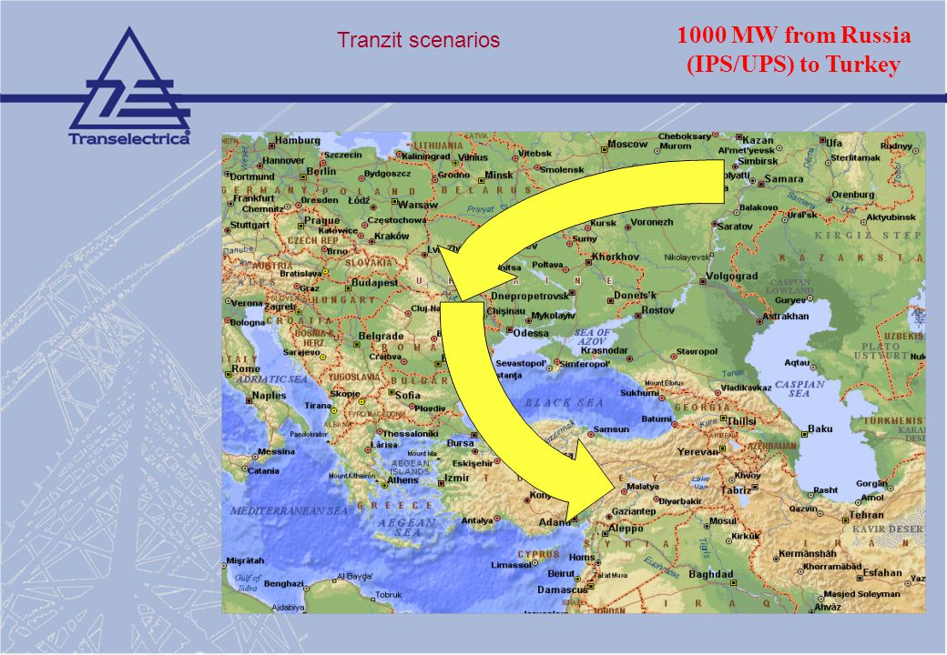 1000 MW from Russia (IPS/UPS) to Turkey