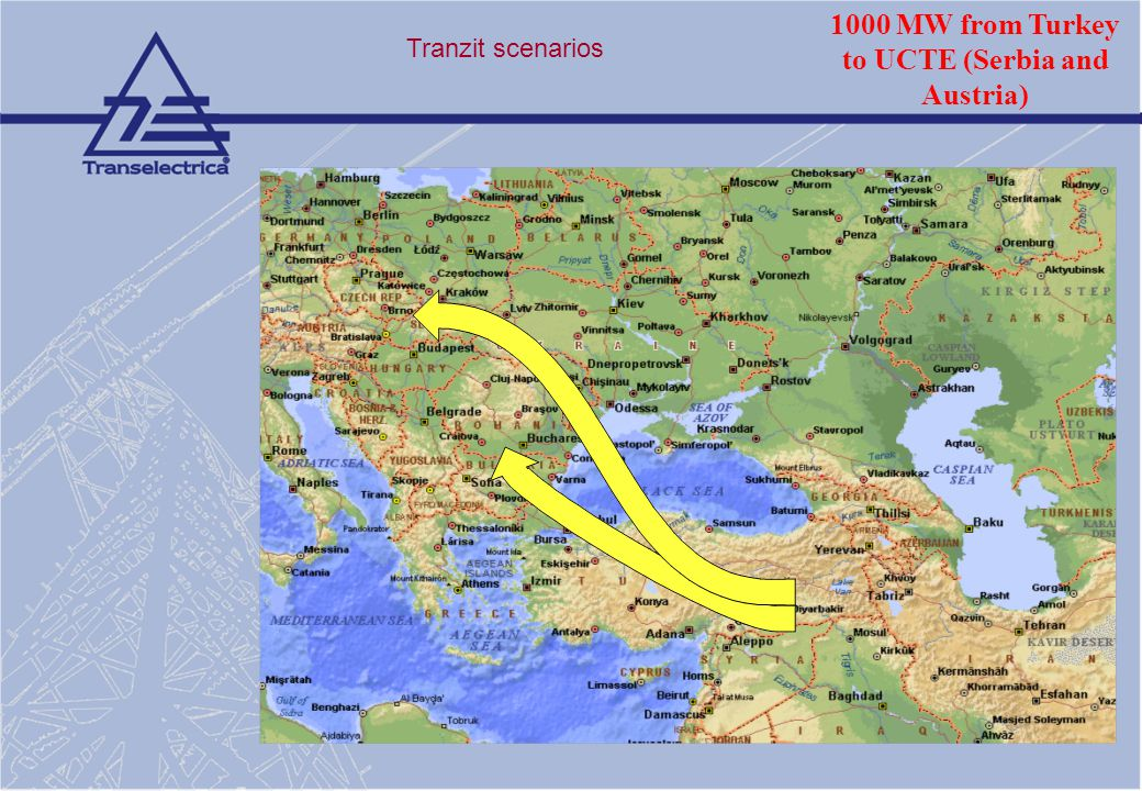 1000 MW from Turkey to UCTE (Serbia and Austria)