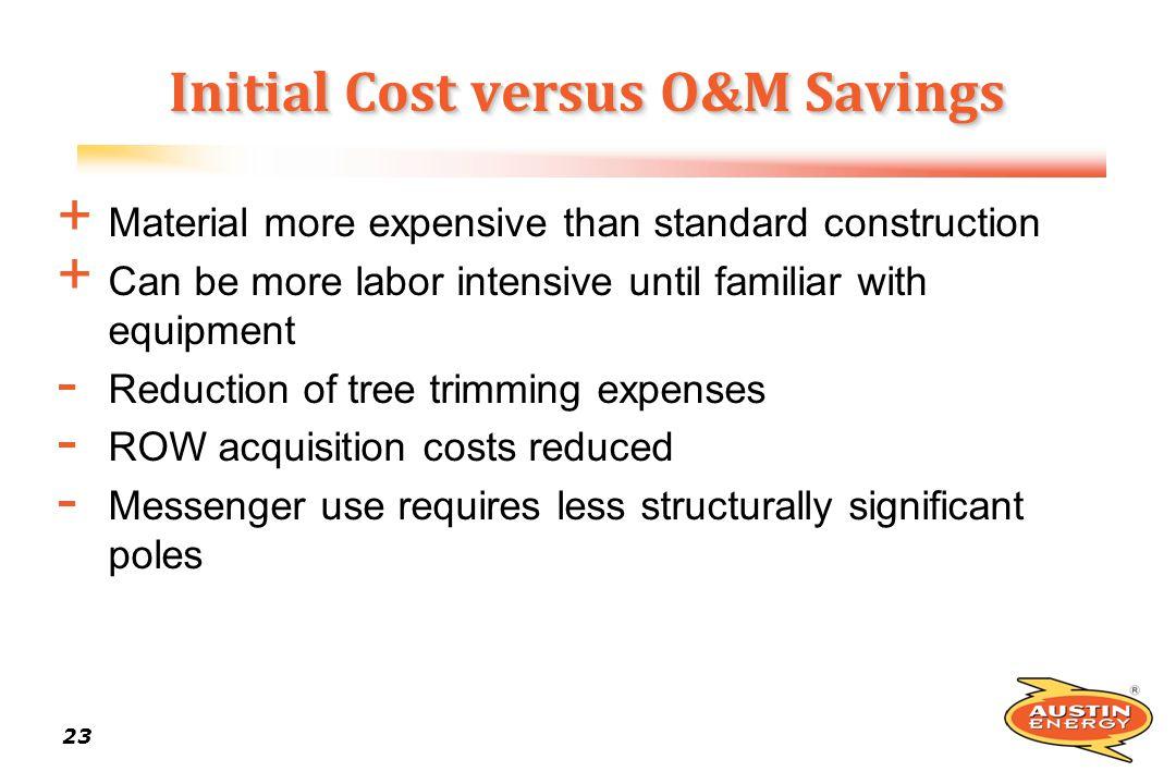 Initial Cost versus O&M Savings