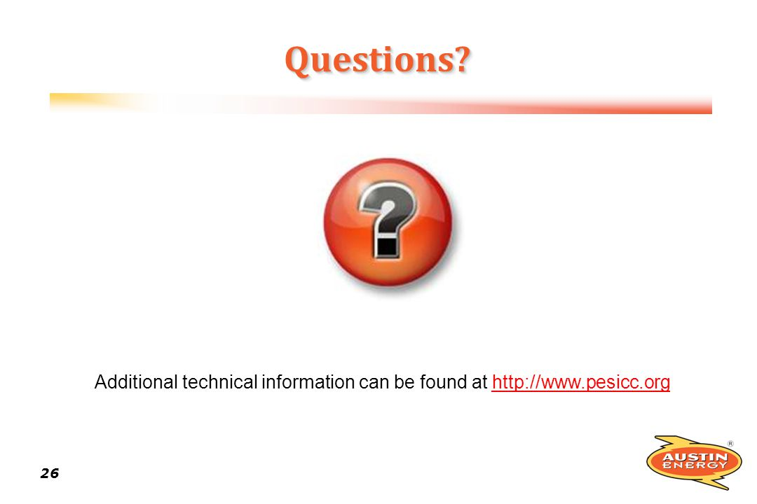 Additional technical information can be found at http://www.pesicc.org